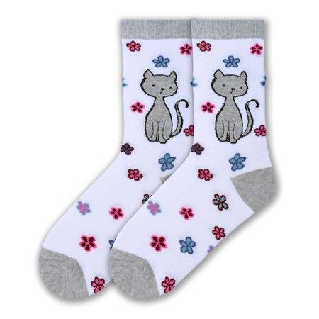 Women's Sweet Kitty Crew Socks White