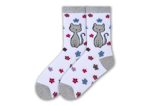 K.Bell Women's Sweet Kitty Crew Socks White