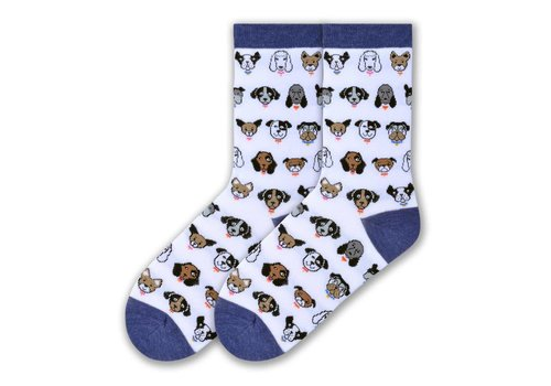 K.Bell Women's Dog Profile Crew Socks White