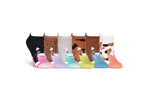 K.Bell Women's Cats 6 Pair Pack Socks Pink