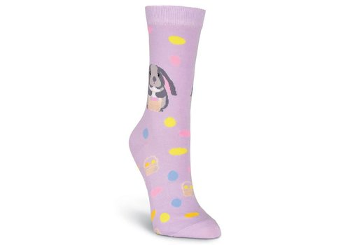 K.Bell Women's Easter Bunny Crew Socks Purple