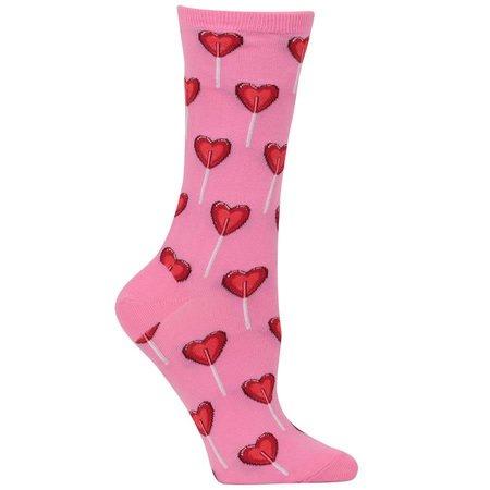 Women's Heart Lollipop Sock Pink