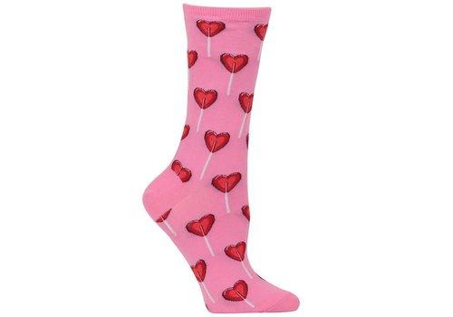 HOT SOX Women's Heart Lollipop Sock Pink