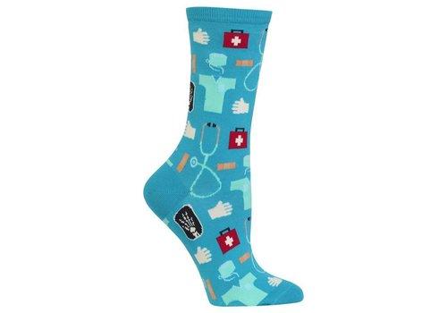 HOT SOX Women's Originals Medical Crew Sock Blue