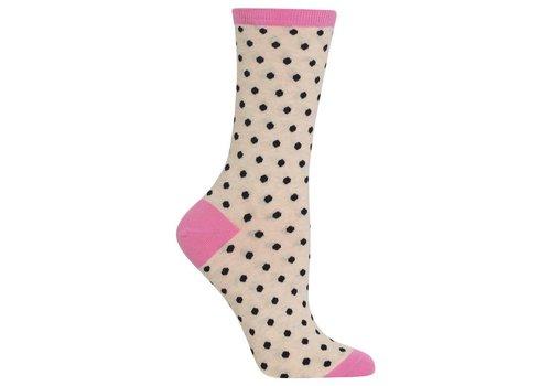 HOT SOX Women's Small Polka Dots Sock Oatmeal