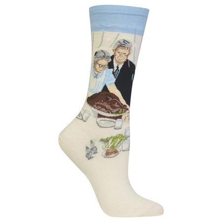 Women's Norman Rockwell Freedom From Want Sock Blue