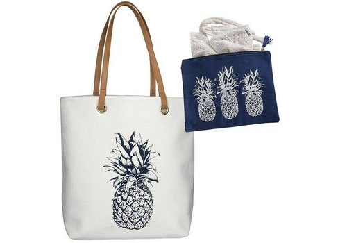 Cabo Pineapple Tote & Bikini Bag Combo