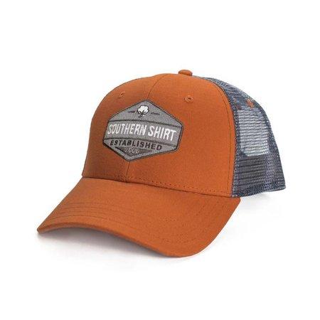 Trademark Badge Mesh Hat Burnt Orange/ Charcoal 513