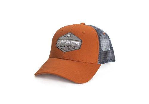 Southern Shirt Trademark Badge Mesh Hat Burnt Orange/ Charcoal 513
