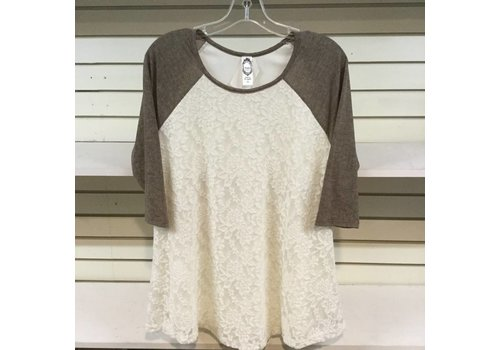 Honeyme Lace Contrast Baseball Top Taupe