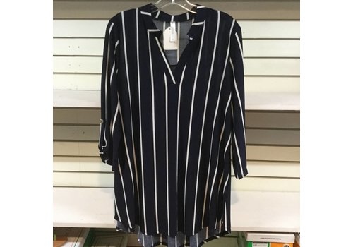 Honeyme Print Blouse Contrast Stripe Navy/Grey