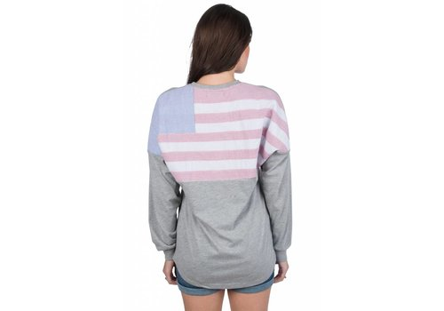 Lauren James Lauren James American Flag Beachcomber Heather Grey Long Sleeve