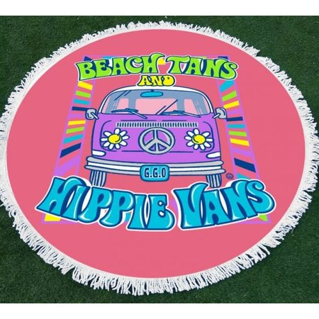 Girlie Girl Round Beach Towel Hippie Van