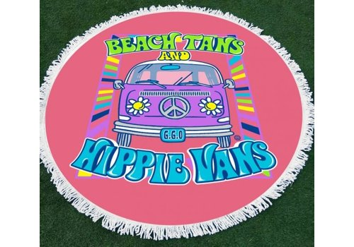 Girlie Girl Girlie Girl Round Beach Towel Hippie Van