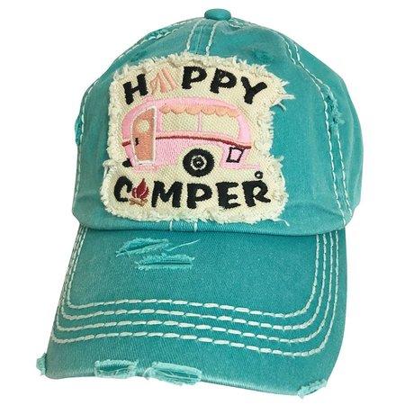 Girlie Girl Happy Camper Torn Hat