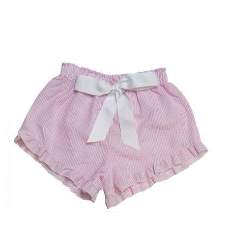 Seer Sucker Shorts Pink | White