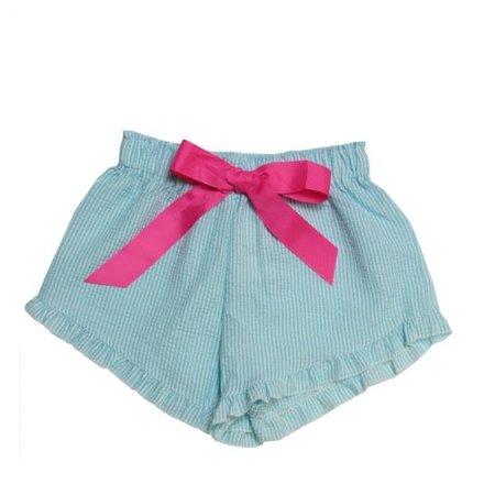 Girlie Girl Seer Sucker Shorts Turquoise | White