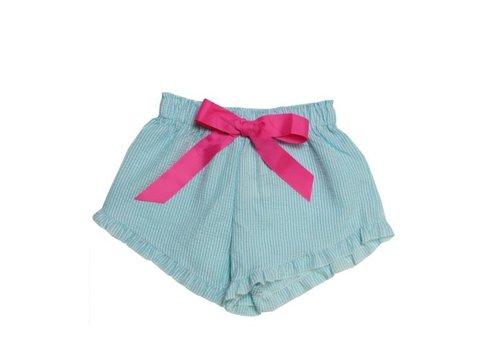 Girlie Girl Girlie Girl Seer Sucker Shorts Turquoise | White