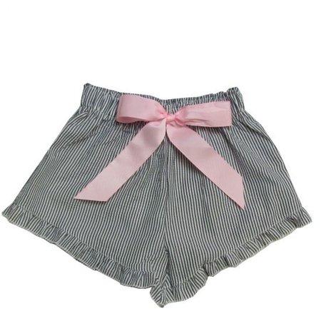 Girlie Girl Seer Sucker Shorts Black | White