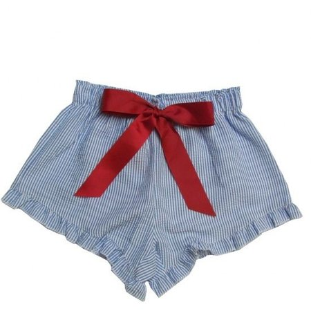 Girlie Girl Seer Sucker Shorts Blue | White