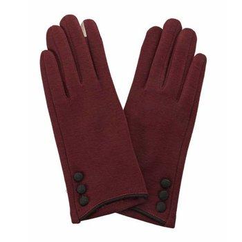 Button Glove Maroon   Black