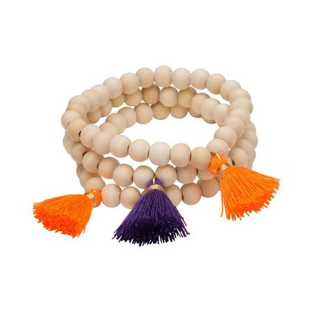 Triple Cotton Tassel Bracelet Orange | Purple
