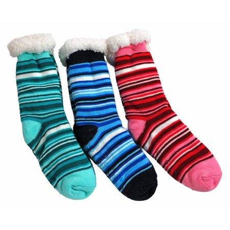 Fluffy Fleece Non Skid Striped Socks