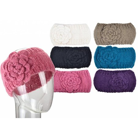 """3.5"""" Wide Knit Head Band With Flower Detail"""