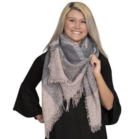 Lt Pink Grey Blanket Scarf