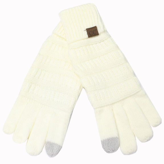 CC Smart Tip Knit Gloves Ivory