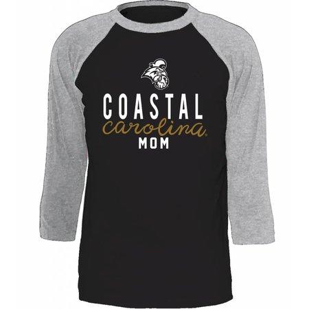 Coastal Carolina University Mom Raglan Premium Heather | Black