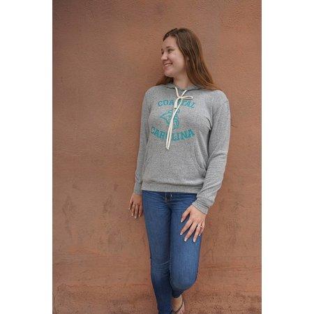 Coastal Brushed Jersey Pocket Pullover Hoodie Soft Grey