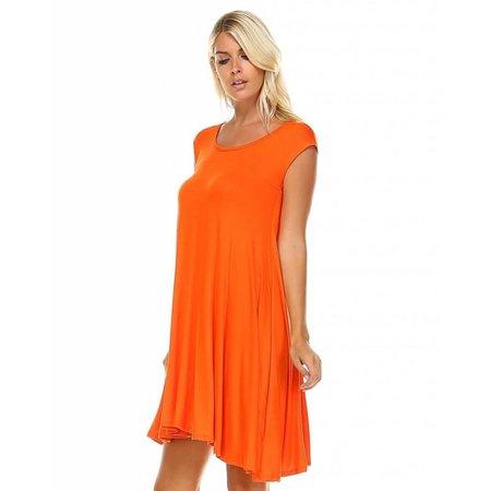 Jersey Cap Sleeve Tunic Dress Orange