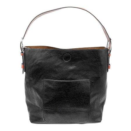 Black Classic Hobo Cedar Handle Handbag