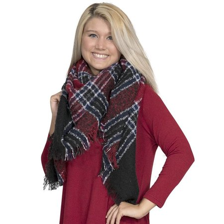 Navy Red Blanket Scarf