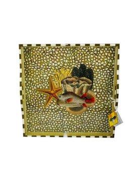 Annie Modica Gold Sea Life Tray Ottoman 20x20