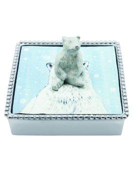 White Polar Bear Beaded Napkin Box