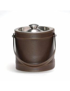 Brown Leather Ice Bucket 3qt