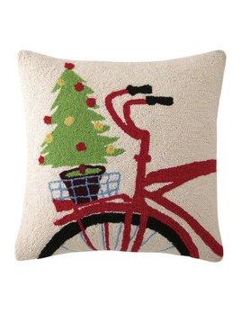 Christmas Tree on Bike Pillow 18x18