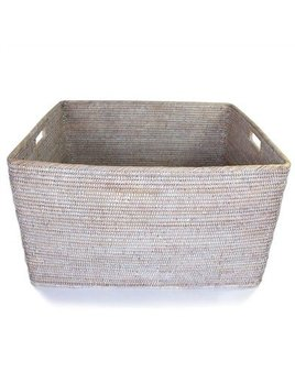 White Storage Basket with Cutout Handles