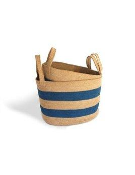 Oval Laundry Tote Basket Light Blue Stripe