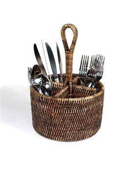 Brown Round Utensil Basket