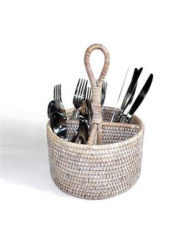 White Round Utensil Basket