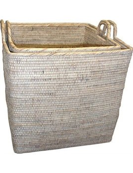 White Large Square Nested Baskets
