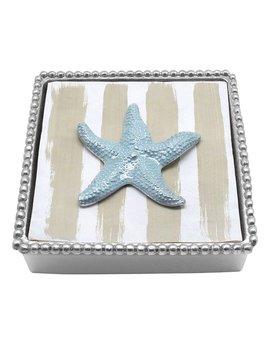 Sea Blue Starfish Beaded Napkin Box