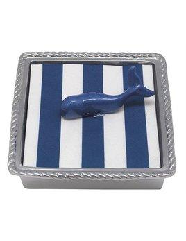 Cobalt Rope Whale Napkin Box