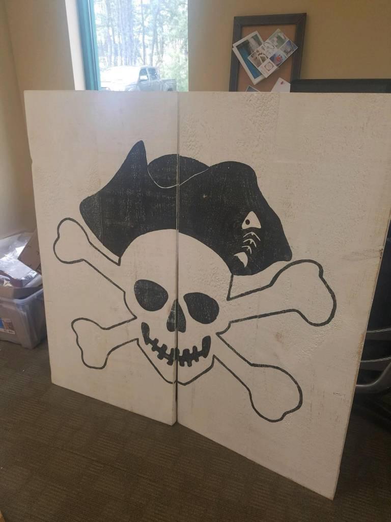 2 Panel Pirate Skull and Bones Black on White
