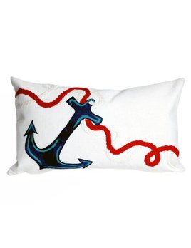 White Anchor Pillow