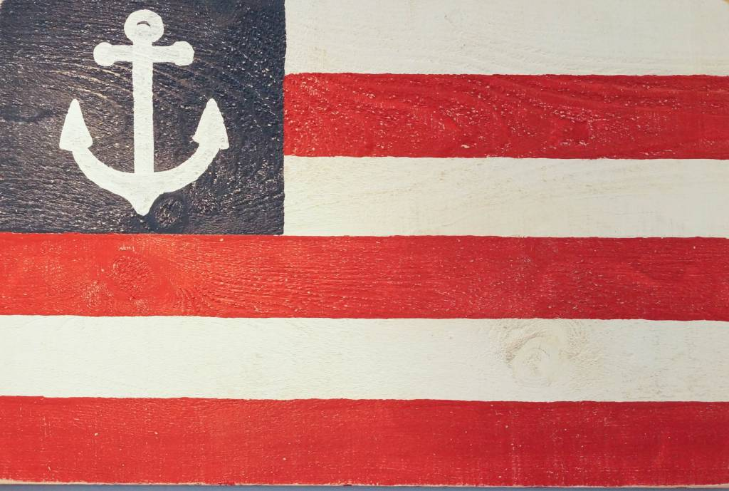 American Flag with Anchor 24x36