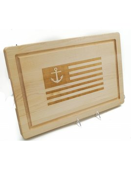 American Flag w Anchor Cutting Board  18x12